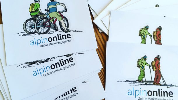 Sticker alpinonline / Illu by Roman Hösel